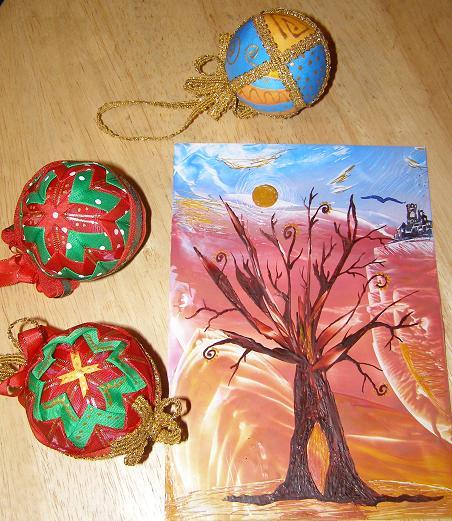 Ekaustika a vianočné gule patchworkové 1