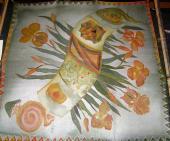KOsatce v zelenej a oranžovej 74 x 74 cm