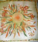 Zelenooranžová Kvety 74 x 74 cm