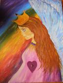 Anjel s korunou troch sĺnc - akryl na plátne