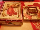 Decoupage - Šperkovnica so zrkadlom a svietnik
