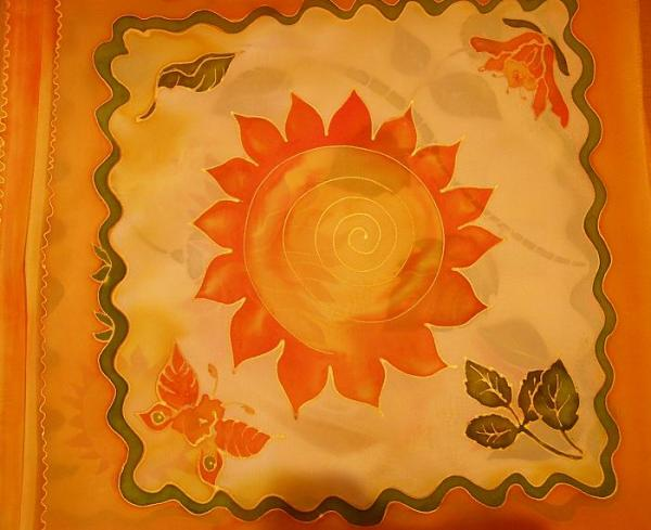 vankúš oranžový - kvet 2